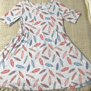 Feathers Pattern Skater Dress